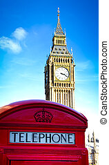 red telephone booth - red telephone box and Big Ben London,...