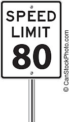 Speed Limit 80 traffic sign white