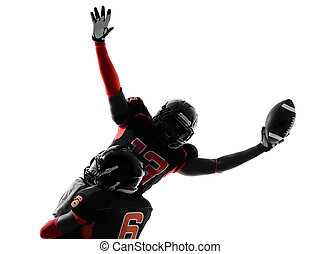 american football player touchdown celebration silhouette -...