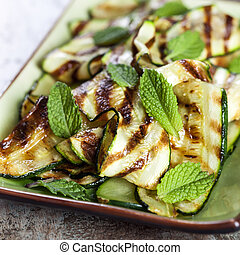 Zucchini or Courgette Salad with Mint - Grilled zucchini and...