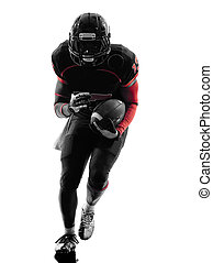 american football player runner running  silhouette