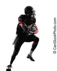 american football player runner running silhouette - one...