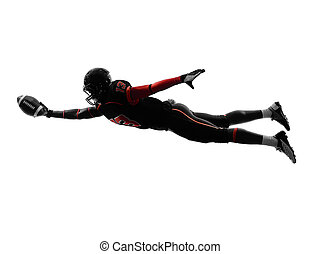 american football player scoring touchdown silhouette - one...