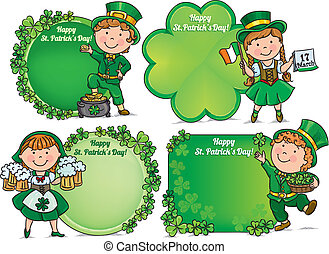 Happy St Patricks Day greeting banners - Happy St Patricks...
