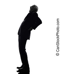 senior business man backache pain silhouette - One Caucasian...