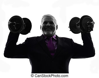 senior business man holding weights silhouette