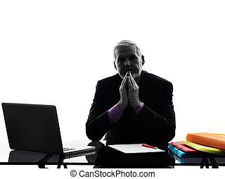 senior Attentive  business man silhouette