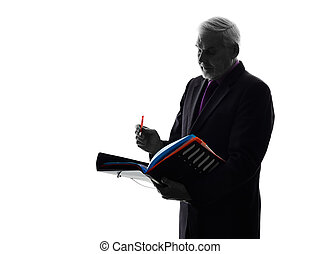 senior business man filing files documents silhouette - One...