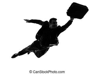 negócio, Super, homem, voando, silueta