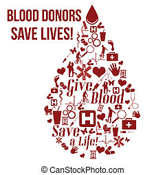 Give blood, save a life concept poster - Give blood, save a...