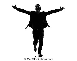 business man arms outstretched silhouette - one caucasian...