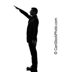 extreme right wing man saluting silhouette - one caucasian...