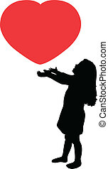 child with heart,silhouette vector