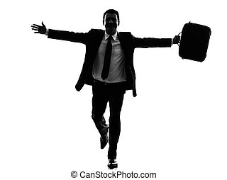 business man running happy arms outstretched silhouette -...