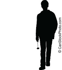 Walking young man silhouette vecto - Walking young man with...