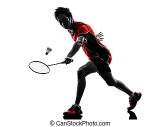 badminton player young man silhouette - one asian badminton...