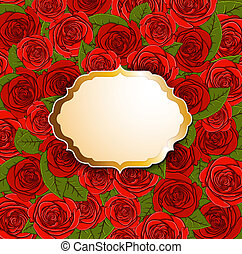 Background with red roses and label