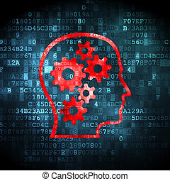 Education concept: Head With Gears on digital background