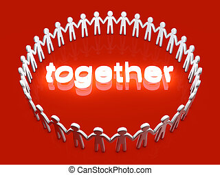 Together - Being together. A group of icon people standing...