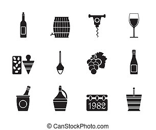Silhouette Wine Icons - Vector Icon Set