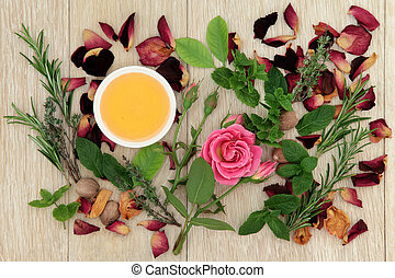 Love Potion Herbs - Honey, herb and rose flower ingredients...