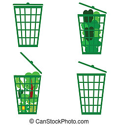 green basket vector illustration