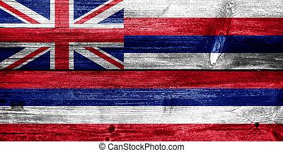 Hawaii Flag painted on old wood plank texture