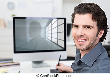 Businessman working with his computer using a tablet and...