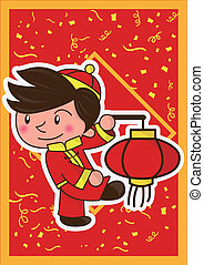 happy lunar new year and boy - happy lunar new year and the...