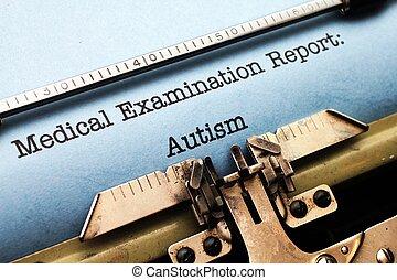 relatório, médico,  -,  autism