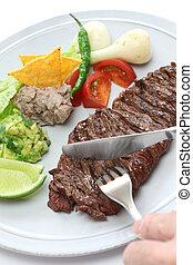 arrachera, mexican spiced skirt ste - grilled skirt steak,...