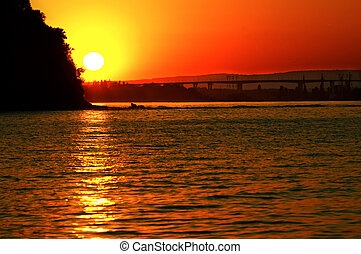 Sunset above Asparuhov bridge - Beautiful sunset above...