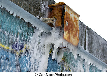 Icebound electrical box - Icebound rusty electrical box due...
