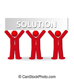 three business men working in team, concept of solution,...