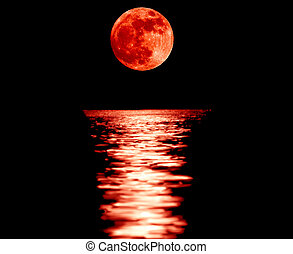 Full red moon with reflection closeup showing the details of...