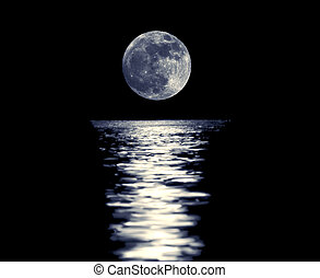 Full blue moon with reflection - Full red moon with...