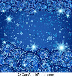 Dark blue frame with starry skies - Dark blue frame with...
