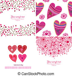 Set of four Happy valentines day backgrounds. Love...