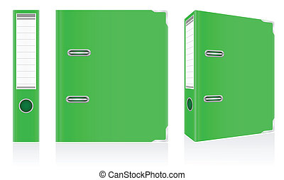 folder green binder metal rings for office vector...