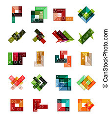 Geometric shaped infographic templates collection....