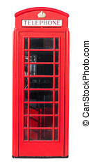 Red Telephone Box on White - Red telephone box isolated on...