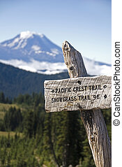 Trail sign, Pacific Crest Trail - Sign for the Pacific Crest...