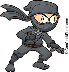 Cartoon ninja holding a star Vector clip art illustration...