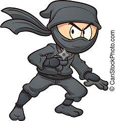 Cartoon ninja holding a star. Vector clip art illustration...