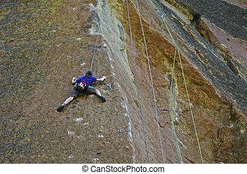 年輕, 女孩, 岩石, 攀登