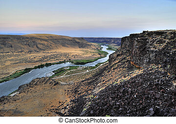 Snake River Canyon, Idaho - Sunrise over the Snake River...