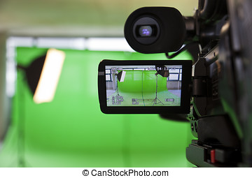 Viewfinder on an HD TV Camera - LCD display screen on a High...