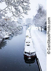 Canal in the Snow, Bath, UK - Snowy view of the Kennet and...