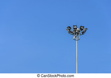 street lights over clear sky