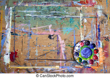 Paint Splattered Board and Mixing Palette - A paint splashed...